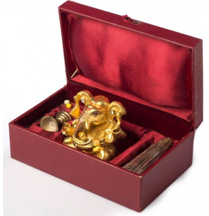 Gold Leafed Ganesha with Incense Stick Holder
