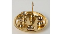 Brass Pooja Thali- 5 piece set with brass bell and diya
